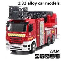 1:32 modelos de automóviles de aleación, alta simulación camión de bomberos, metal a troquel, automóviles de juguete, tire hacia atrás de moviles y musicales, envío libre