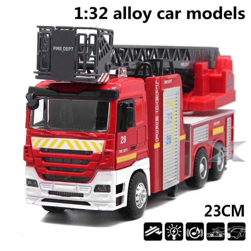 1:32 Модели автомобилей из сплава, высокая симуляция пожарной машины, металлические литья под давлением, игрушечные транспортные средства, оттяните назад, мигающий и музыкальный, бесплатная доставка