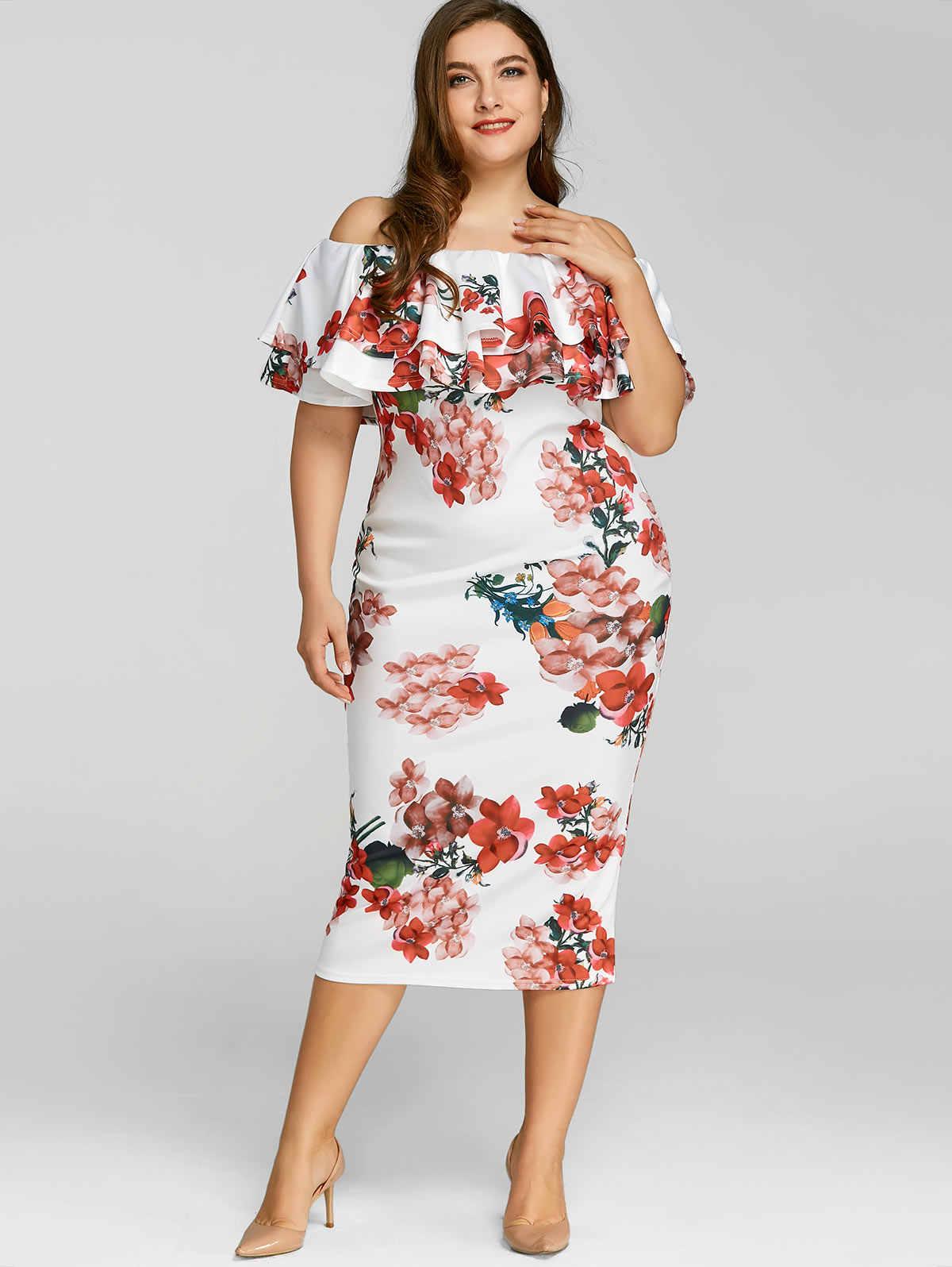 Gamiss Casual Ladies Elegant Bodycon Dress Plus Size 5XL Floral Print  Ruffle Dress Off The Shoulder c70e67223cb1