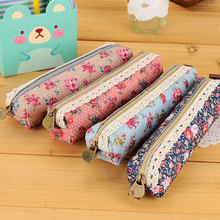1 x Cute Finely flower Canvas Multifunction function children Pen bag Zipper women Makeup bag Cosmetic Brush Storage Pouch Case