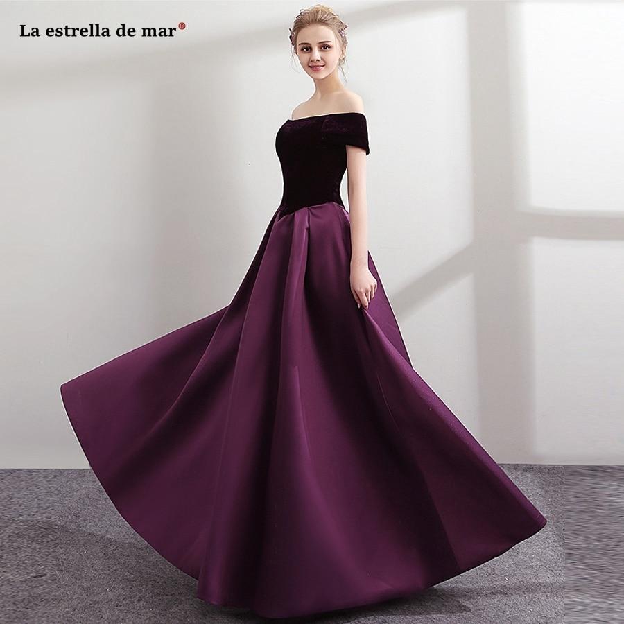 Vestido de formatura longo 2018 new VELOUR Boat Neck short sleeved halter a Line purple   prom     dresses   plus size evening gowns