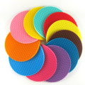 Table Kitchen 18cm Round Silicone Non-slip Heat Resistant Mat Coaster Cushion Placemat Pot Holder  Kitchen Accessories