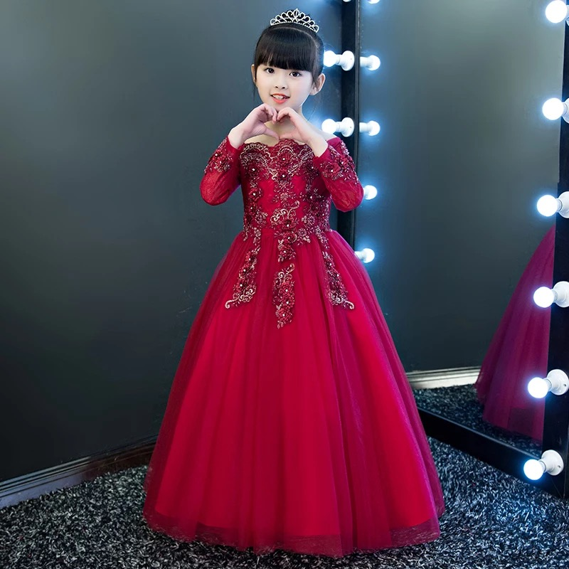 2017 New Luxury Elegant Children Girls Wine-Red Color Embroidery Flowers Lace Princess Birthday Wedding Party Ball Gown Dress 2018 spring new children girls elegant fashion pink color flowers princess dress for birthday wedding party baby ball gown dress
