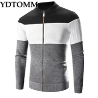 YDTOMM Mens Sweater New Autumn Winter High Quality Thick Warm Cardigan Male Zipper Striped Sweaters Men