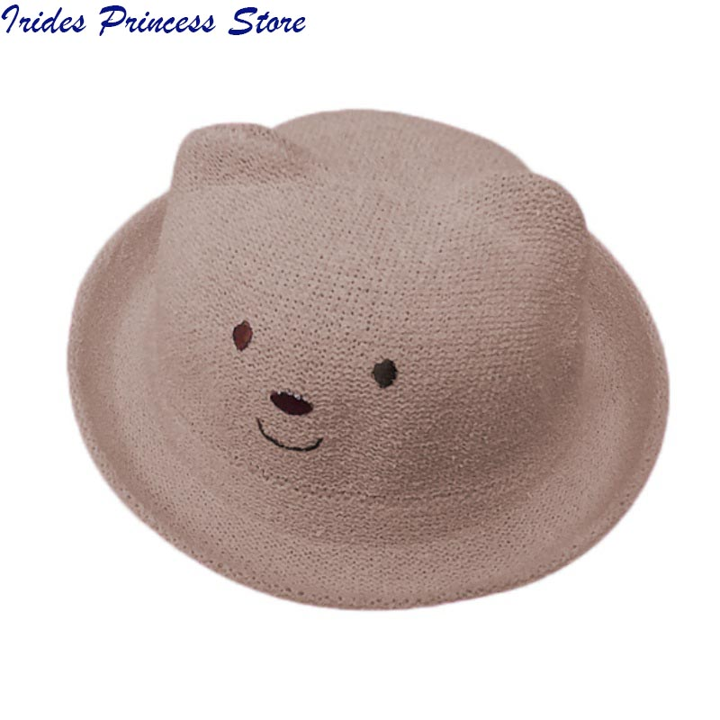 7aa5d035c1e Fashion Ears Straw Hats Baby Hats For Girls Bucket Hat Boys Cap Children Sun  Summer Cap Kids Solid Beach Panama Caps-in Hats   Caps from Mother   Kids  on ...