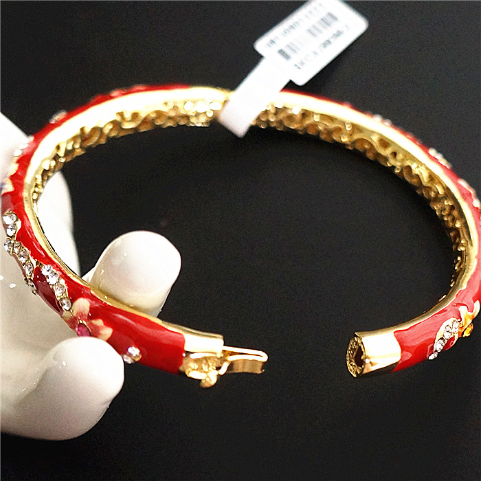 Double thin Small Chinese filigree rhinestone Bangle Cloisonne Enamel Bangles For Women Fashion Ethnic Jewelry Gift in Bangles from Jewelry Accessories