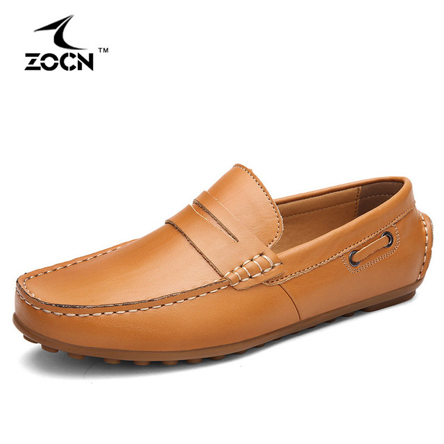 2016 New Loafers Men Flats Shoes Genuine Leather Shoes Men Moccasins Men Casual Shoes Slip On Loafers Zapatos Hombre ZOCN