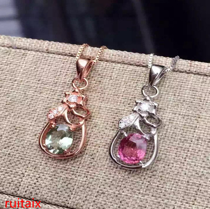 KJJEAXCMY boutique jewels S925 silver natural crystal tourmaline water drop necklace pendant set chain gift box chain.