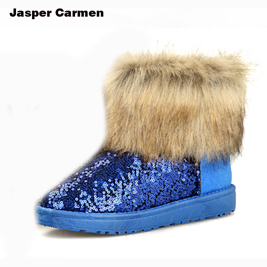 2017 Fashion Winter Women Ankle Snow Boots High Quality Warm Comfortable Women's Sequin Faux Fox Fur Cotton Boots 26 ZYH only true love high quality women boots winter snow boots