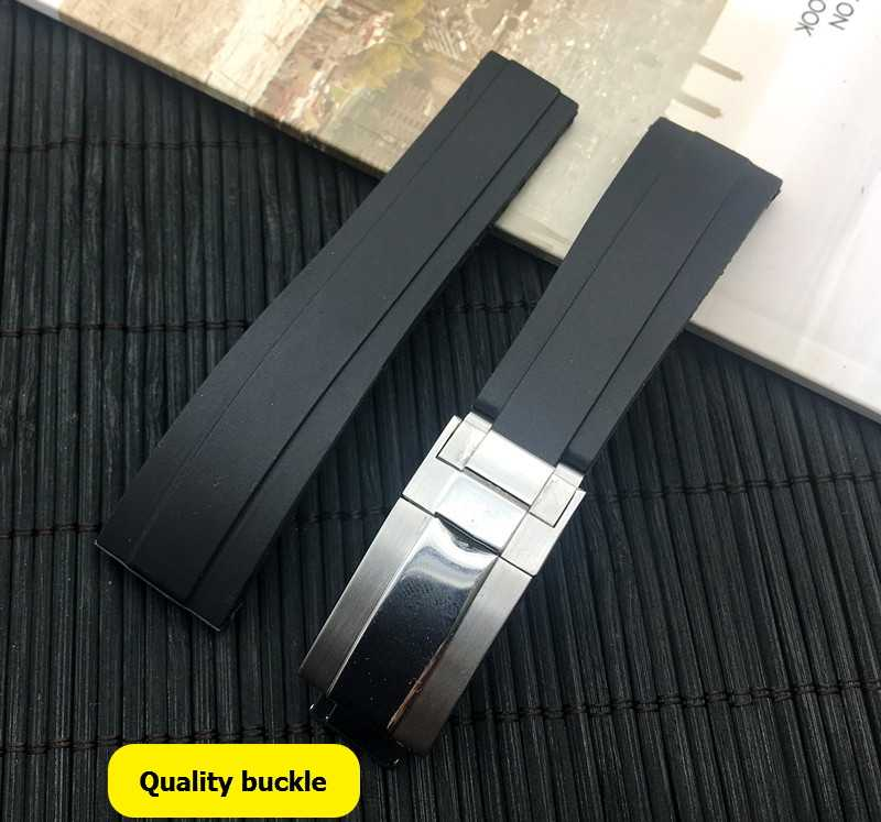 Luxury brand 20mm Black nature silicone Rubber Watchband Watch Strap band For Role Daytona Submariner GMT OYSTERFLEX Bracelet