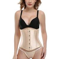 24 Steel Bones Satin Waist Trainer Slimming Belt Bodysuit Shapewer Body Shaper Corset Underwear Women Fitness