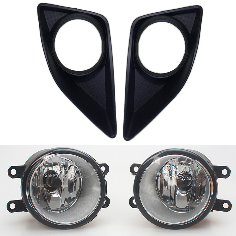 MZORANGE New 2PCS Black Front Right/Left Fog Light Lamp+Grille Cover Bezel for Toyota Corolla 2007 2008 2009 2010 High Quality 1set front chrome housing clear lens driving bumper fog light lamp grille cover switch line kit for 2007 2009 toyota camry