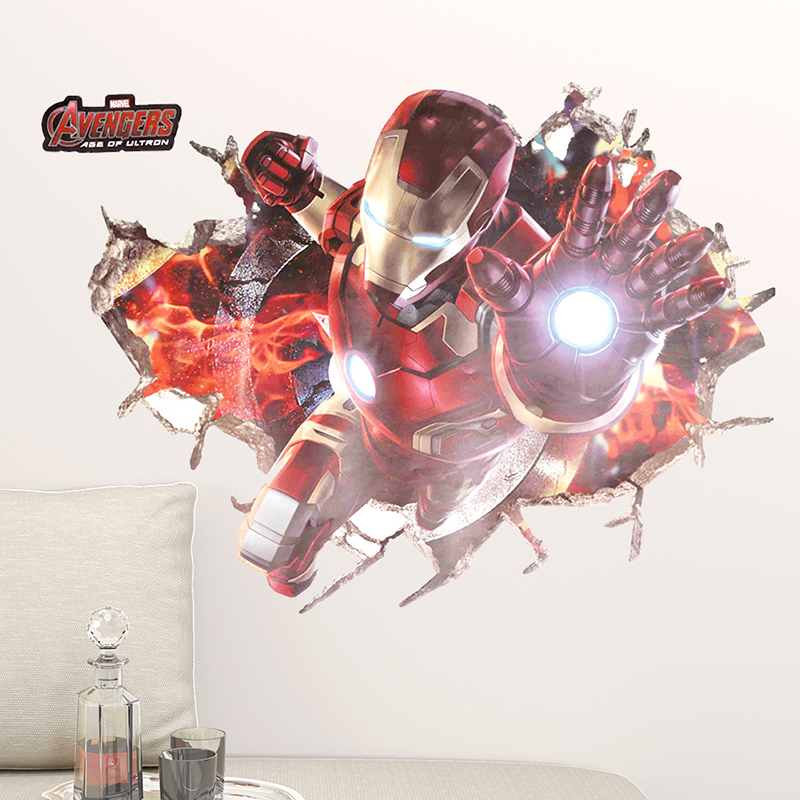 3D Effect Iron Man Hero Through Wall Stickers For Nursery Kids Room Decor Wall Art Decals The Avengers Wallpaper Home PVC Poster