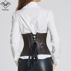 Image 3 - Wechery Brown Black Short Top Bustier Ladies Fashion Leather Underbust Corset Slim Wasit Shapewear Gothic Goth Style Punk Tops