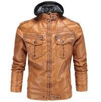 Men Leather Jackets Autumn Winter Hooded Classic Motorcycle Faux Sheepskin Leather Jacket Men Warm Coats High