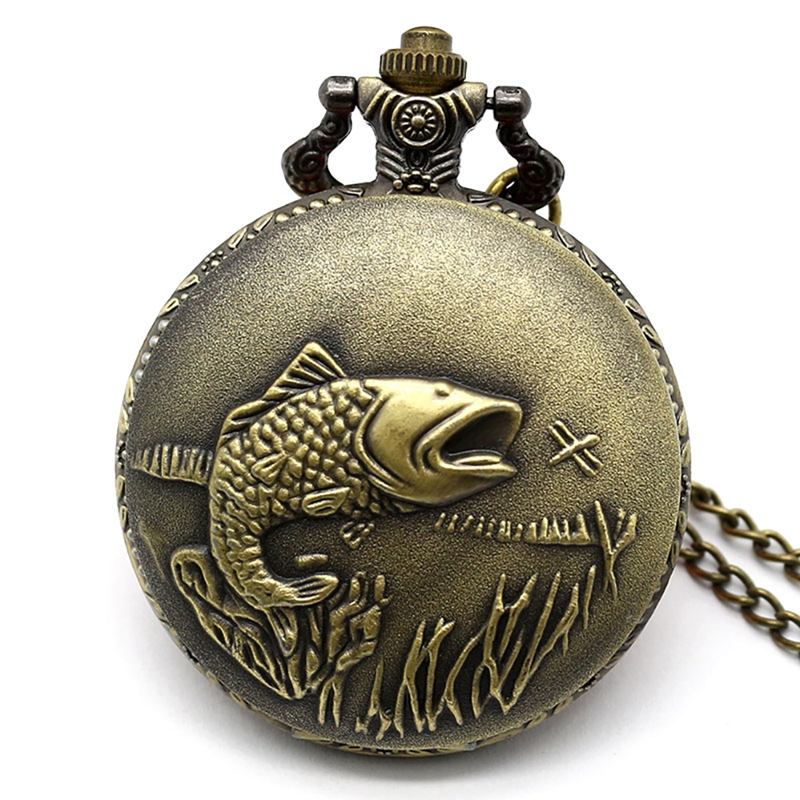 Antique Fish Solid Carving Special Fishing Pocket Watch Vintage Lovers Gifts Relogio Feminino  With Necklace For Men Women