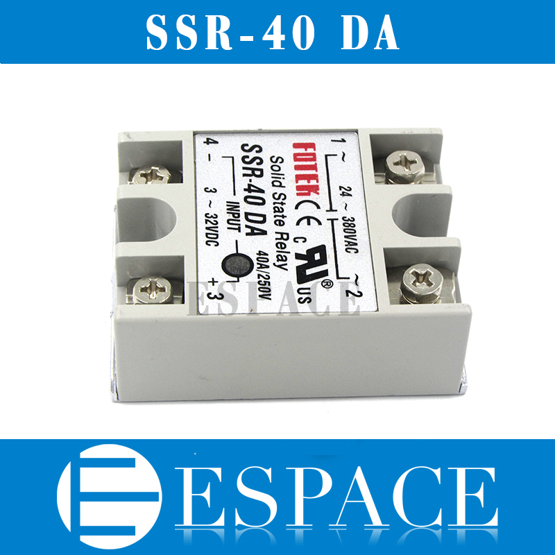 цена на 5pcs/lot solid state relay SSR-40DA 40A actually 3-32V DC TO 24-380V AC SSR 40DA relay solid state good quality