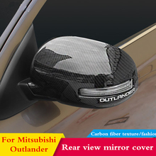 цена на For Mitsubishi Outlander 2013 2015 2016 20172018 Car Side Mirror Carbon fiber Rear view mirror Cover Exterior Accessories Chrome