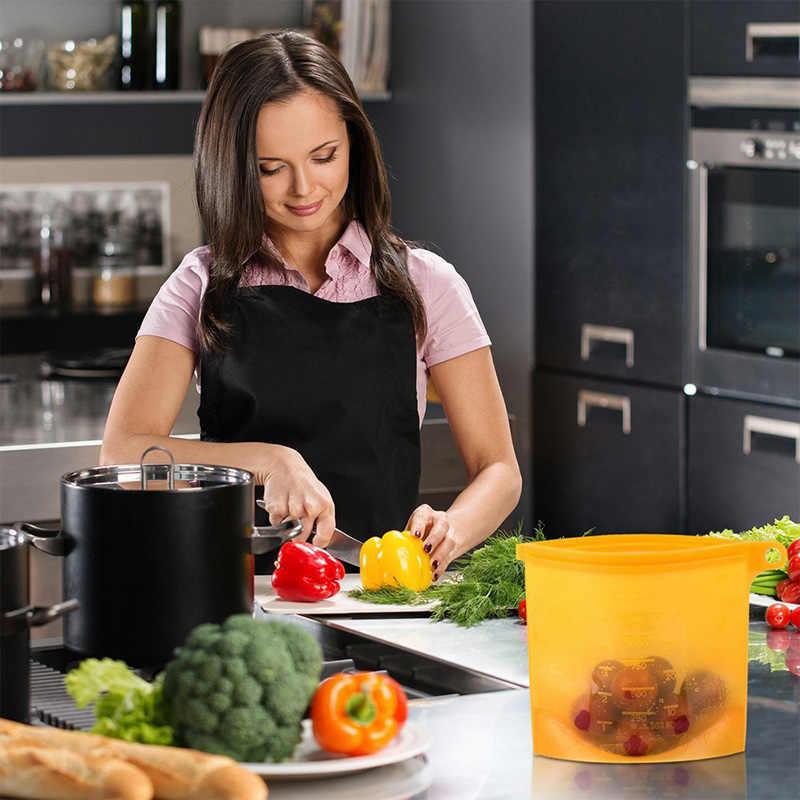 Reusable Refrigerator Fresh Bags Kitchen Food Sealing Storage Bag Home Food Grade Silicone Fruit Meat Ziplock Kitchen Organizer