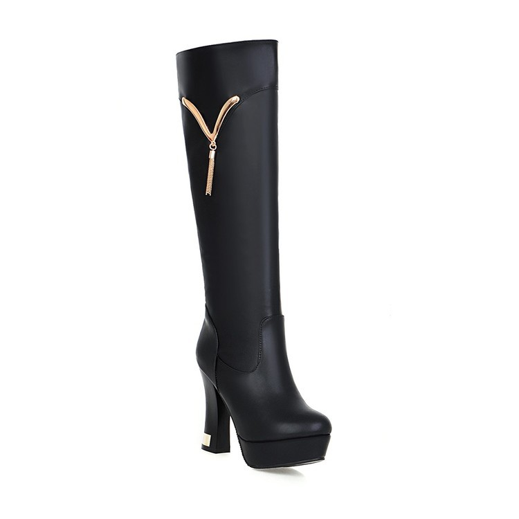 Sexy High-heeled Waterproof Fall And Winte Thickly With White Women Boots Knee High Black Beige Cheap Shoes image