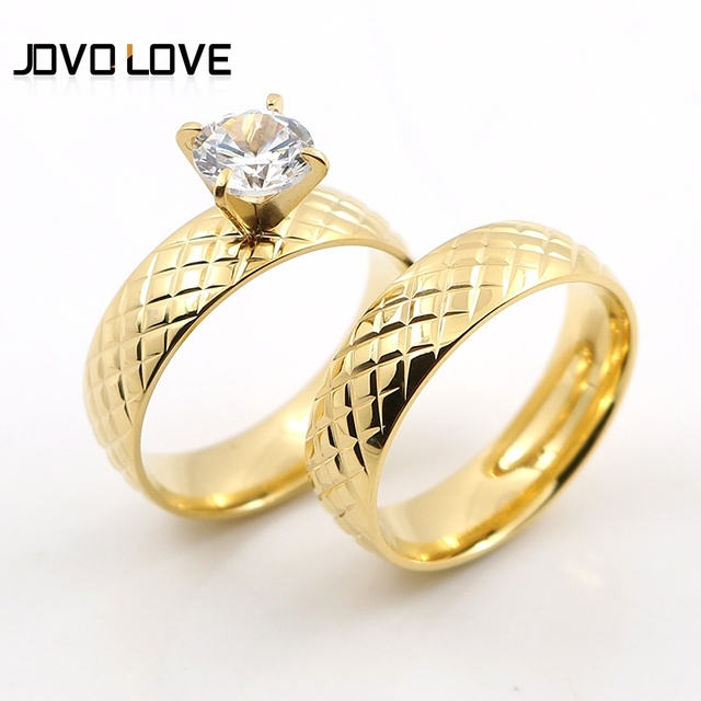 Memorable Gold Colors Wedding Rings For Women Men Special Carved Pattern Round Anniversary