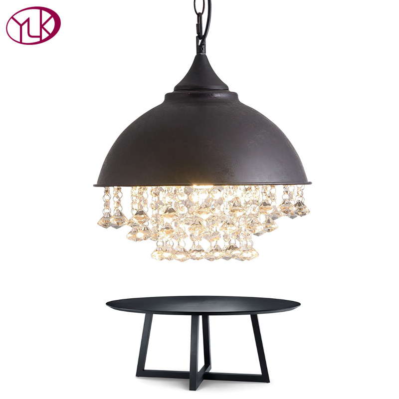 Youlaike Vintage Pendant Lights Retro Black LED Crystal Lights Home Decoration Hanging Lighting Fixture Dining Room