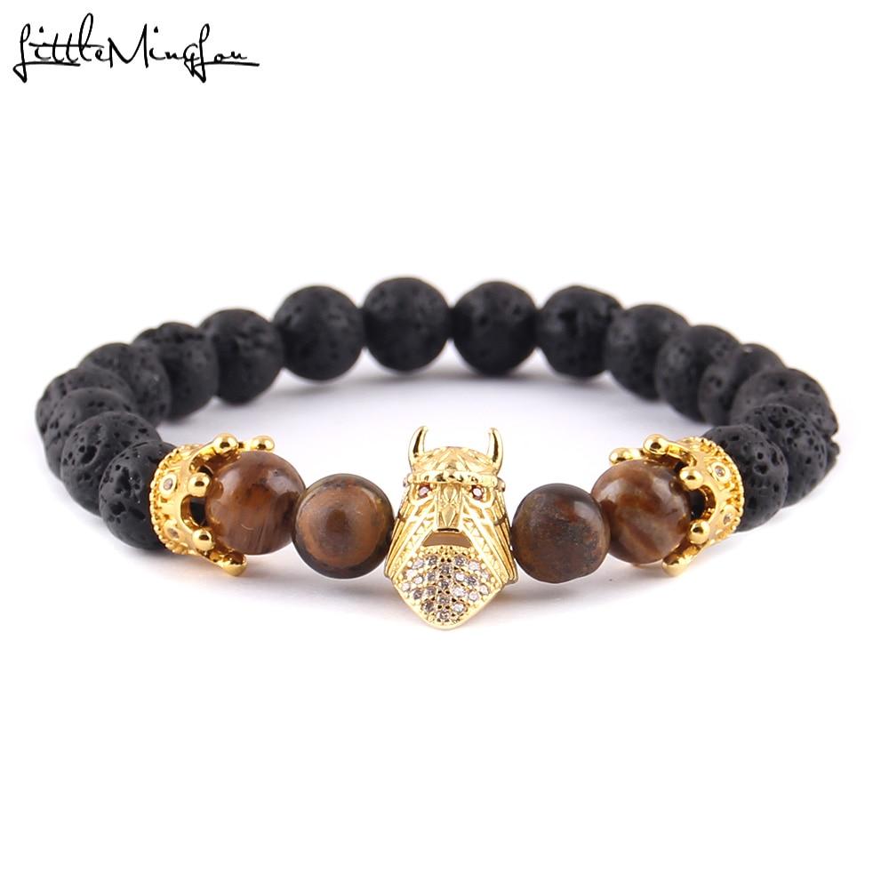Little MingLou Luxury pave CZ Sparta Warrior helmet & Crown bracelet men beads skeleton bracelets & bangles for men jewelry