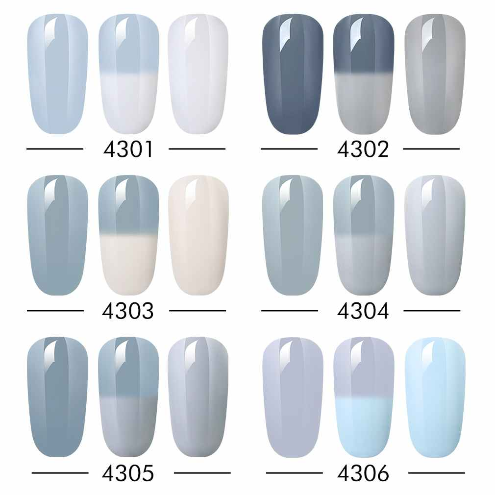 HNM פרווה ואפור צבע טמפרטורת שינוי צבע UV ג 'ל פולני חצי קבוע לכה תרמו לכה בסיס למעלה GelLak מניקור