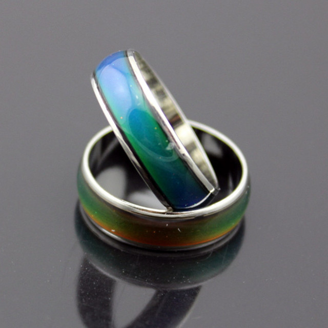 QCOOLJLY Stainless Ring Temperature Changing Multi-color Ring Unisex Women Men F