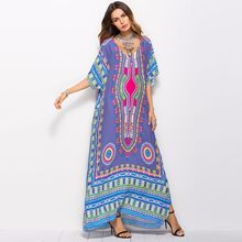 2019 Spring and Summer Womens Dress Large size Hot South American Style Printing Casual Fashion Robe