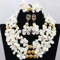 2016 Pretty Joyería de la Boda Africana de Nigeria Coral Perlas Nupcial Conjunto Collar de Oro Blanco Plateó El Envío Libre CJ538