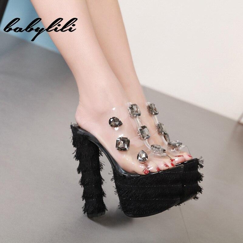 Woman sandals crystal slippers women with transparent super high heels platform 2019 summer chunky slip on tassels sandals woman