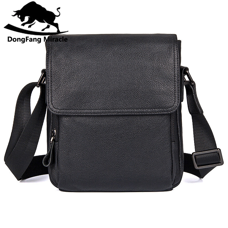DongFang Miracle New Men Shoulder Bag Genuine Leather Messenger Bag Casual Small Bag Simple Flap Mobile Phone Bag Black dongfang miracle high quality genuine leather men messenger bags casual shoulder bag male multifuntional small bag
