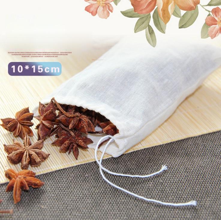 10pcs/lot Large Teabags Cotton Muslin Drawstring Reusable Tea Bags For Soap Herbs Tea 10*15CM
