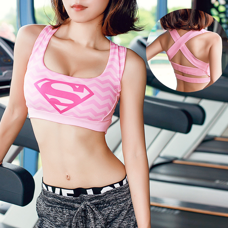 Female Fitness Yoga Bra Sports Bra Padded Batman Captain America Superhero Crop Top Tank Tops Sport Bra Top for sports 4