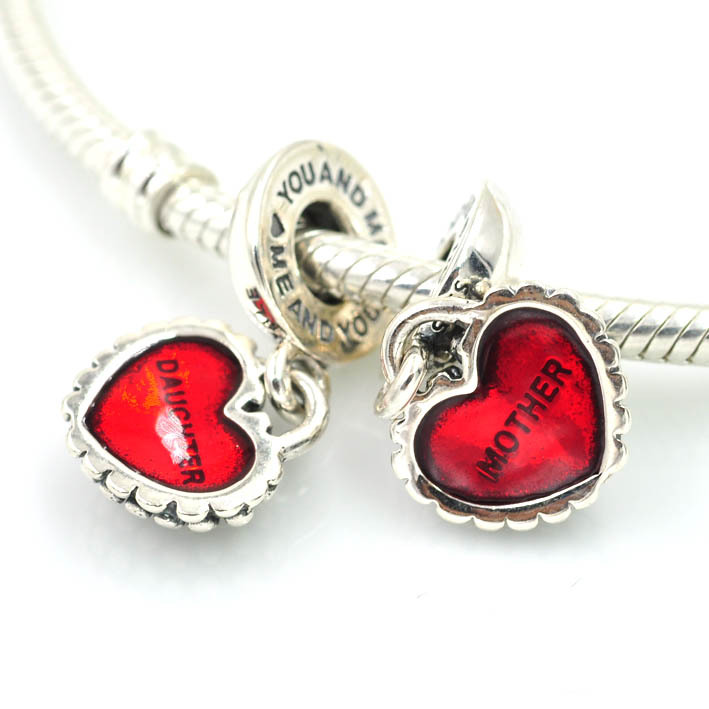 Authentic 925 Sterling Silver Charms Mother Daughter Heart Dangle Charm Beads Fits Pandora Bracelets Diy Pendants Jewelry On Aliexpress Alibaba