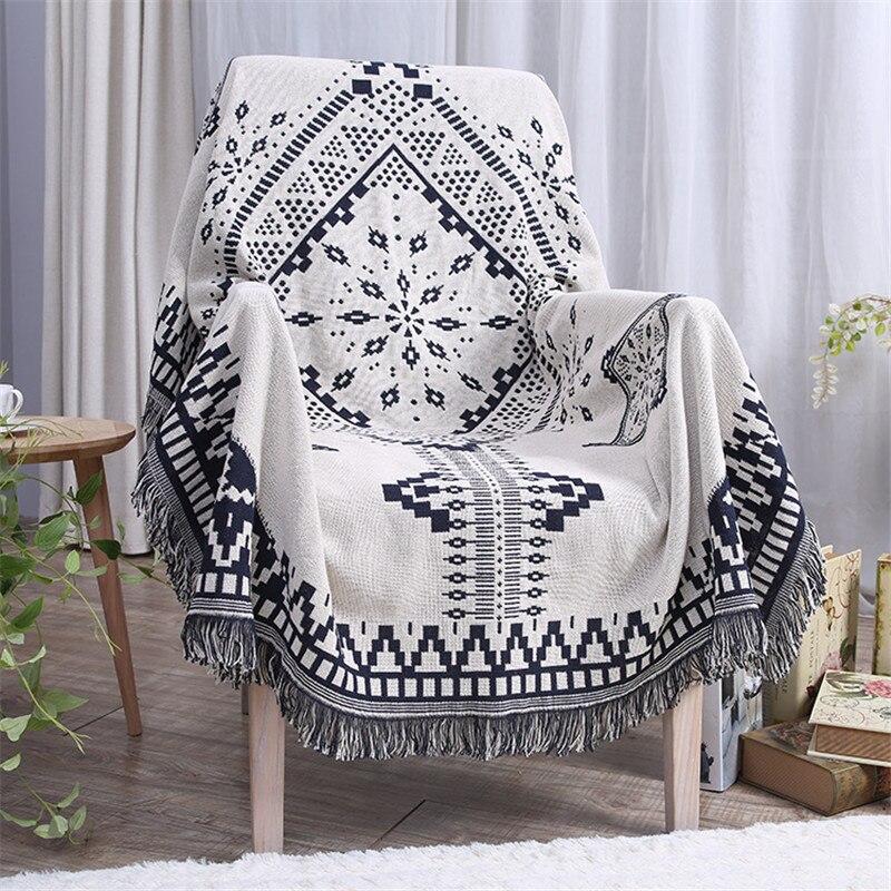 180*230 cm noir et blanc fil couverture 2018 nouveau coton canapé couverture pour salon motif géométrique gland doux couvre lit