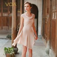 VOA summer100 pure chiffon silk irregular double layer dress for women light blue and pink sleeveless dress A0220