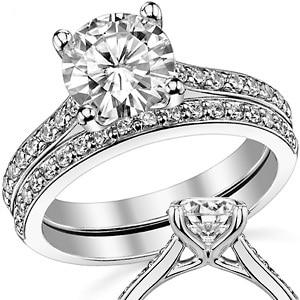 Center 2 Carat Brilliant Fahion Band ASCD Lab Grown Diamond Solid 9K White Gold Diamond Engagement Ring Diamond Wedding Set