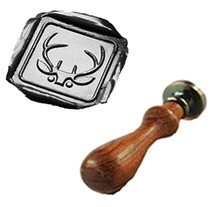 Vintage Christmas Deer Horn Custom Logo Wedding Invitation Gift Wax Seal Sealing Stamp Rosewood Handle Set