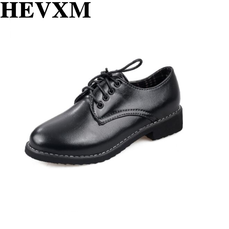HEVXM 2017 New Arrival Lace Up Women Oxford Shoes Vintage Round Toe Woman Flats Ankle Boots England Style Drop Ship Women front lace up casual ankle boots autumn vintage brown new booties flat genuine leather suede shoes round toe fall female fashion