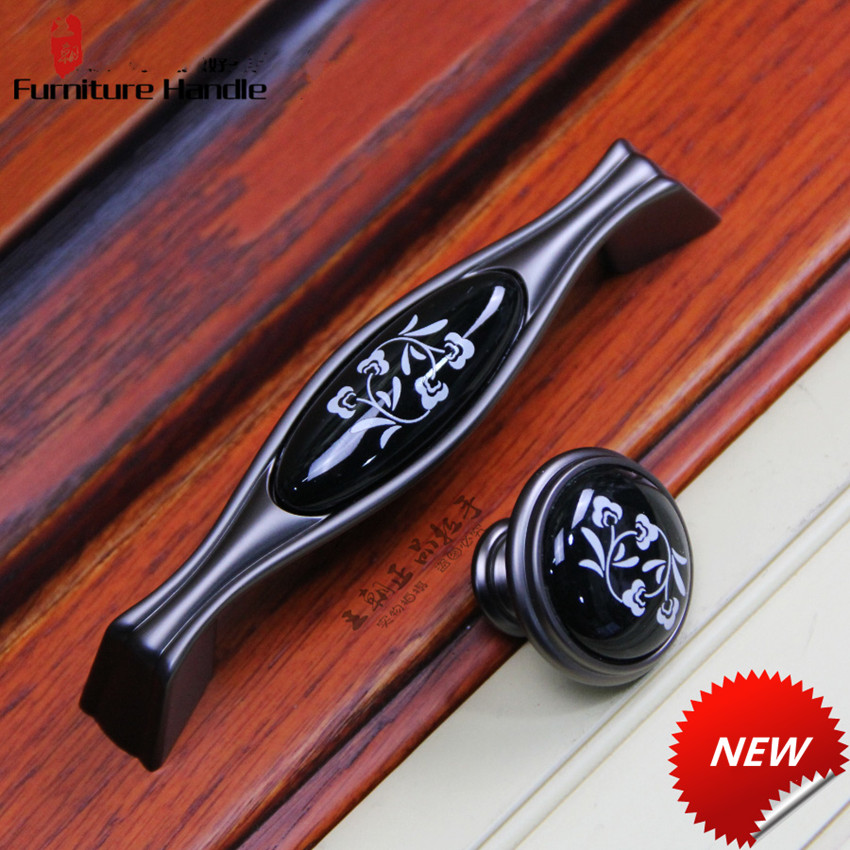 цена на 96mm retro style gun color kitchen cabinet cupboard door handles black ceramic drawer tv cabinet dresser knobs pulls 3.75