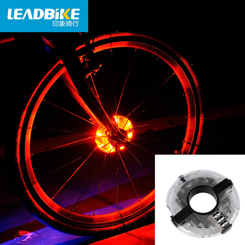 Leadbike 2016 new bicycle cycling hubs light bike front tail light led spoke wheel warning light