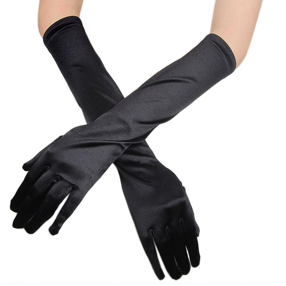 New Fashion Gloves Womens Satin Long Gloves Opera Evening Party Prom Gloves Stretch Satin Evening Gloves A0409