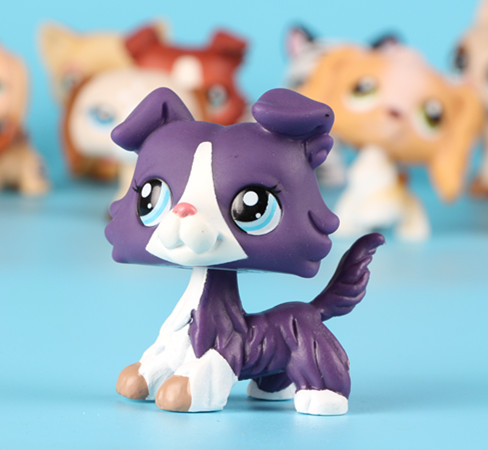 LPS Collection Figure Purple Collie Dog White Blue Eyes 2 1676 In Action Amp Toy Figures From