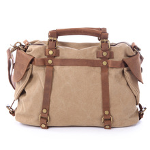 Free shipping Genuine leather patchwork canvas bag crazy horse leather women's canvas bag canvas bag one shoulder cross-body bag