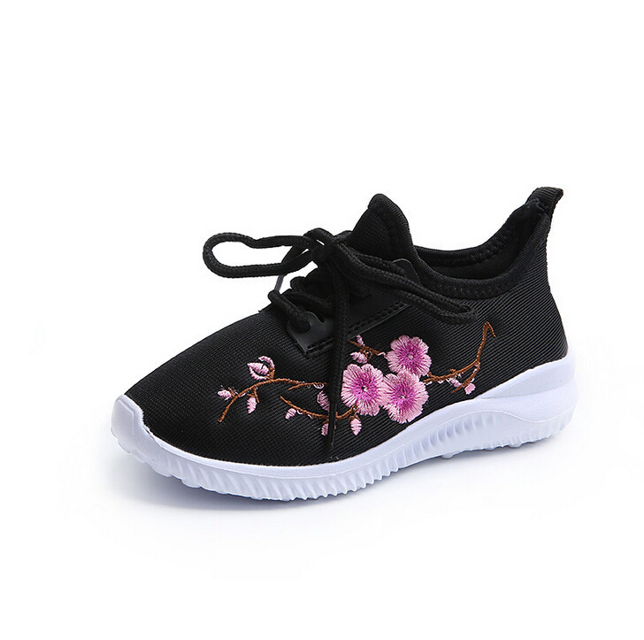 Autumn Children Shoes Girls Sneaker Fashion Casual Shoes With Flower Handmade Embroidery Kids Girls Breathable Ultra-light Shoes