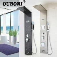 Ouboni темно серый Душ столбца Ванная комната настенный одной ручкой + ручной душ + Ванна Носик + массаж Системы душ панель
