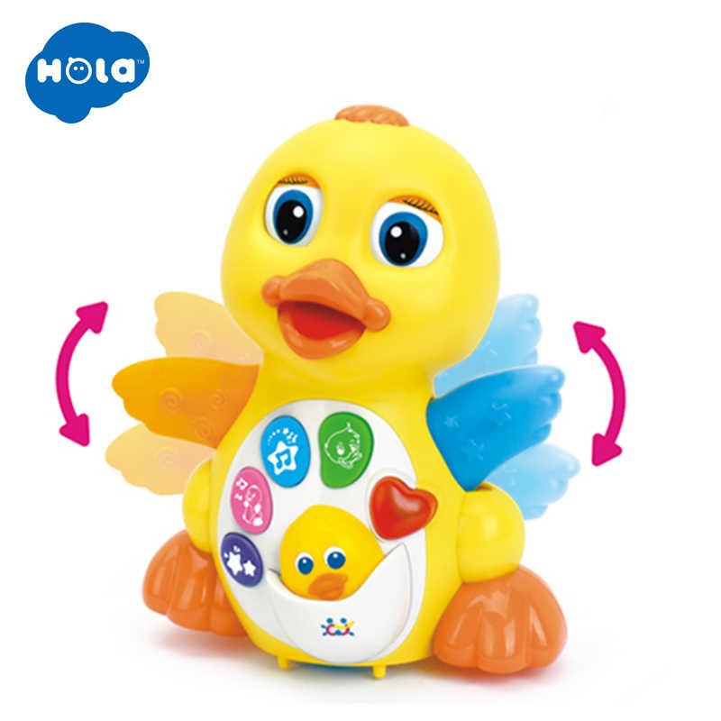 HOLA 808 детские игрушки EQ хлопки желтая утка младенческой Brinquedos Bebe Электрическая универсальная игрушка для детей 1-3 лет