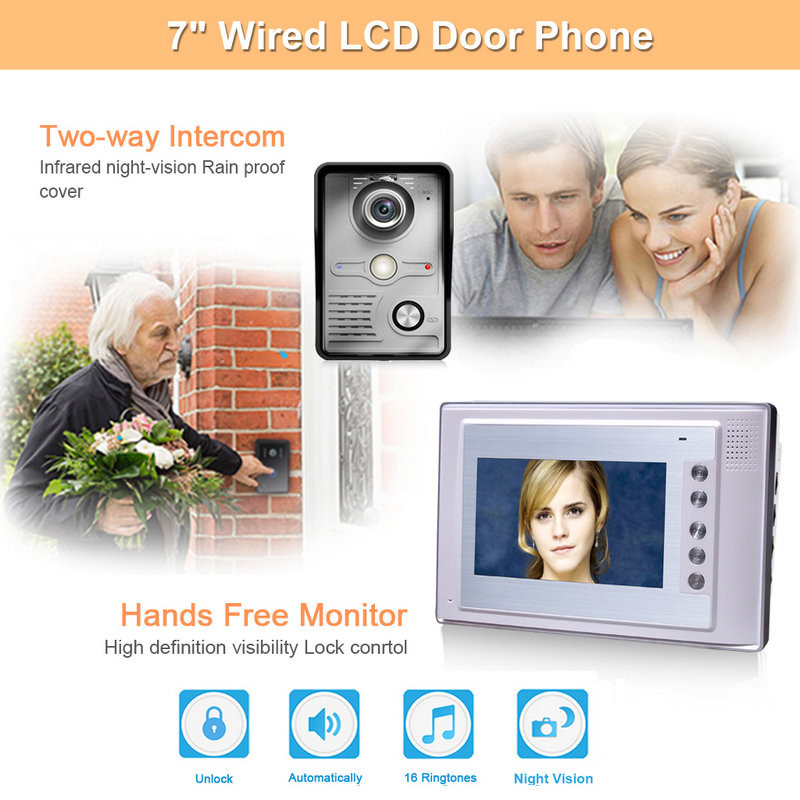 Visual Intercom Doorbell 7'' TFT LCD Wired Video Door Phone System Electric lock-control Indoor Monitor 700TVL Outdoor IR Camera free shipping 7 lcd video intercom door phone system 3 screens 700tvl outdoor camera for 3 house rfid control strike lock